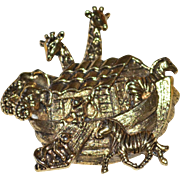 AVON Noah's Ark Detailed Goldtone Brooch/Pin