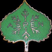 1950s Austrian Made Green Enamel ASPEN Colorado Ski Pin