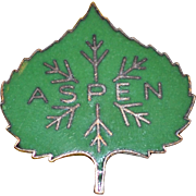 1950s Austrian Made Green Enamel ASPEN Colorado Ski Pin
