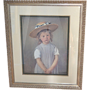 "Huge 33"" Mary Cassatt ""Child in a Straw Hat"" Framed Reproduction Art Print"