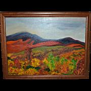 Signed Original Abstract Expressionism Modernist Landscape Framed Oil Painting