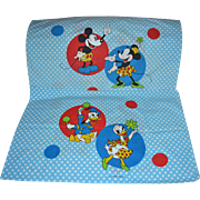 Wamsutta Walt Disney Pair of Blue Polka Dot Mickey, Minnie, Daisy & Donald Standard Pillowcases