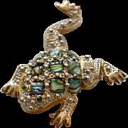 Large Abalone & Rhinestone Frog Pin/Brooch