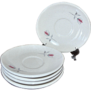 1950s Franciscan Duet Set of 5 Mod Shaped Saucers