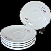 1950s Franciscan Duet Set of 5 Mod Shaped Saucers