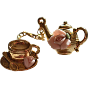 1928 Jewelry Pink Clay Rose Tiny Teapot w/ Cup & Saucer Chained Scatter Pin Set