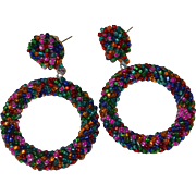 Large Colorful Twisted Seed Bead Pierced Hoop Earrings