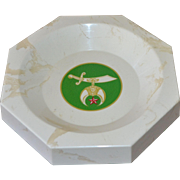 White Marble Masonic Shriners Large Business Card, Coin or Pin Tray