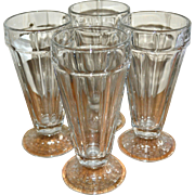 Libbey Set of 4 Old Fashioned Soda Fountain Patterned Base Glasses