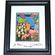 SIGNED Jonathan Green Colorful Seaside Family & Dog Framed Art Print