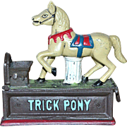 Collector's Edition Painted Cast Iron TRICK PONY Horse Mechanical Reproduction Penny Bank