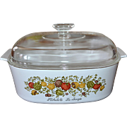 1970s Corning Ware 4 Quart Spice of Life Covered Cookware/Casserole Dish Set