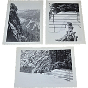 "1949 Set of 3 Yosemite Landscape w/ Children 4.5"" B & W Photos"