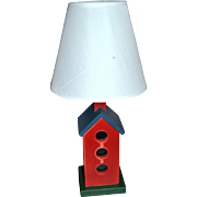 Folk Art Style Red Painted Wood Birdhouse Lamp