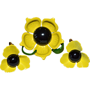 Sunshine Yellow Enamel Flower w/ Black Center Pin & Earring Set