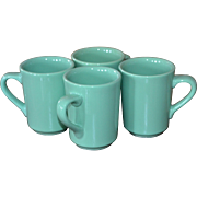 Homer Laughlin Set of 4 Sea Green Restaurant Ware Mugs