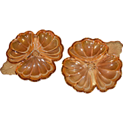 Set of 2 Jeannette Glass Doric/Pansy Marigold Iridescent Carnival Glass Nut Dishes