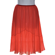 1960s Vanity Fair Pleated Red Chiffon & Nylon Half Slip
