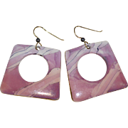 Pink & Purple Hand-painted Porcelain Large Cut Out Dangle Earrings