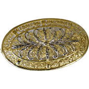Alice Caviness Sterling Silver Gold Wash Marcasite Classic Oval Brooch/Pin