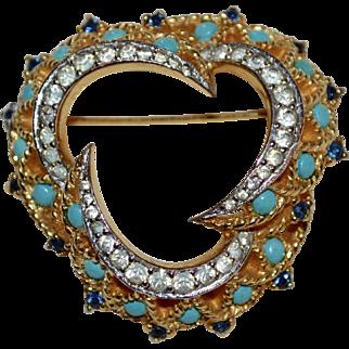 Designer Quality Turquoise Blue Glass & Rhinestone Brooch/Pin