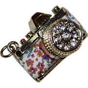 Fabulous Enamel Flower 3D Rhinestone Camera Pendant or Charm