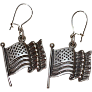 Signed Sterling Silver Waving Flag Earrings ~ Made in USA!