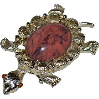 Gerry's Salmon Pink & Black Jelly Belly Turtle Figural Brooch/Pin/Pendant