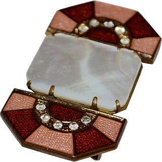 Art Deco Pink & Red Guilloche Enamel Mother of Pearl & Rhinestone Belt Sash