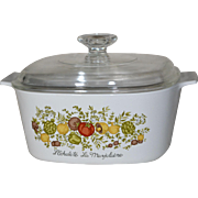 1970s Corning Ware 3 Quart Spice of Life Covered Cookware/Casserole Dish Set