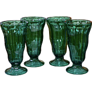 Anchor Hocking Set of 4 Teal Green Soda Fountain or Ice Cream Glasses