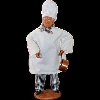 Simone Jouglas Clay Folk Art French Chef Doll Figurine Statue