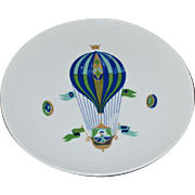 Georges Briard Blue Hot Air Balloon White Pedestal Cake Plate
