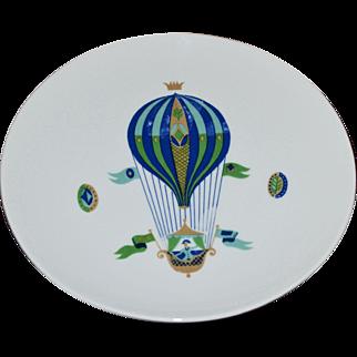 Georges Briard Blue Hot Air Balloon White Pedestal Cake Plate
