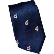 1960s Sakowitz Christmas Red Bulb Nose Santa Navy Blue Men's Neck Tie