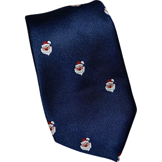 1960s Sakowitz Christmas Red Bulb Nose Santa Navy Blue Men's Neck Tie