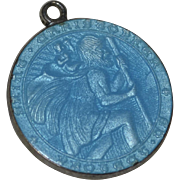 Sterling Silver & Blue Enamel Saint Christopher Charm/Pendant