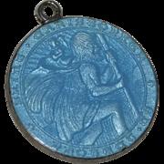 Sterling Silver & Blue Enamel Saint Christopher Charm/Pendant