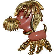 1960s Signed Marcel Boucher Pink Lucite Figural Poodle Pin/Brooch
