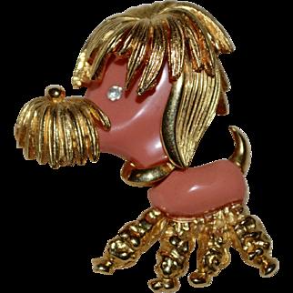 1960s Signed Marcel Boucher Pink Lucite Figural Poodle Pin/Brooch