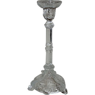 Vallerysthal Portieux France Bavards Diving Dolphin & Snake Clear Pressed Glass Candlestick