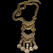 Egyptian Revival Long Statement Pendant Goldtone Necklace