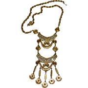 Egyptian Revival Long Statement Pendant Goldtone Necklace