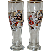 Set of 2 Franziskaner Weissbier Christmas Santa Painting Portrait Germany