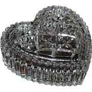 Cut Lead Crystal Glass Heart Trinket Dish with Lid