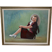 Signed Original Smiling Lady Naive Folk Art Oil Painting
