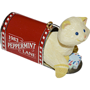 1983 Hallmark Peppermint Lane Cat in Mailbox Christmas Ornament