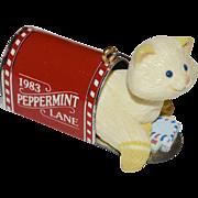 1983 Hallmark Peppermint Lane Cat in Mailbox Christmas Ornament
