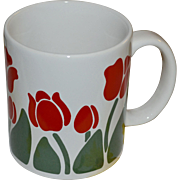 1983 Anchor Hocking NINA Never Used Red Tulip Flower Ceramic Mug