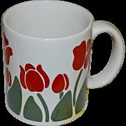 1983 Anchor Hocking NINA Never Used Red Tulip Flower Ceramic Mug